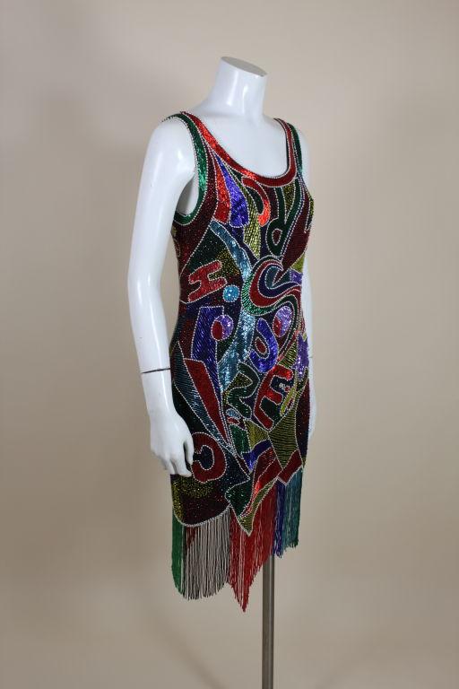 1980's Oleg Cassini Beaded Alphabet Cocktail Dress 3