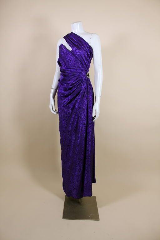 Ungaro 1980s Amethyst Silk Jacquard Goddess Gown 2