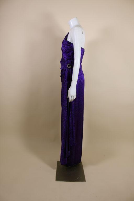 Ungaro 1980s Amethyst Silk Jacquard Goddess Gown 3