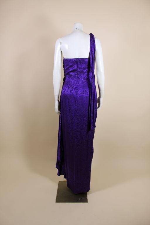 Ungaro 1980s Amethyst Silk Jacquard Goddess Gown 4