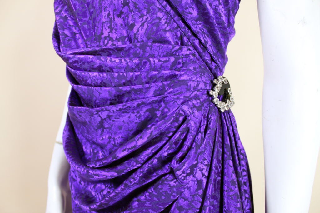 Ungaro 1980s Amethyst Silk Jacquard Goddess Gown 6