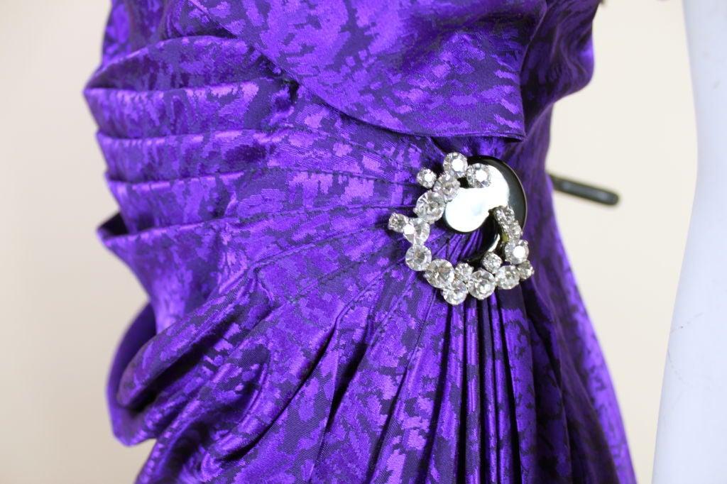 Ungaro 1980s Amethyst Silk Jacquard Goddess Gown 7