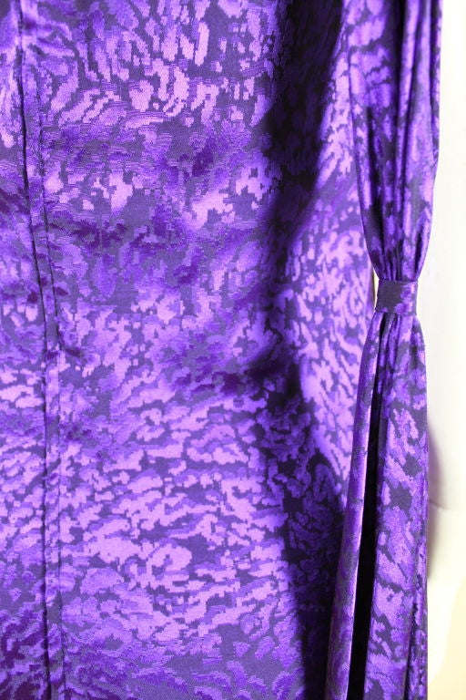Ungaro 1980s Amethyst Silk Jacquard Goddess Gown 8