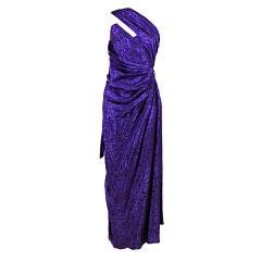 Ungaro 1980s Amethyst Silk Jacquard Goddess Gown