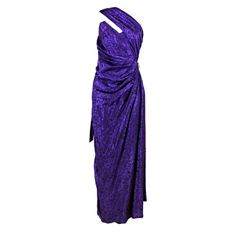 Ungaro 1980s Amethyst Silk Jacquard Goddess Gown 1