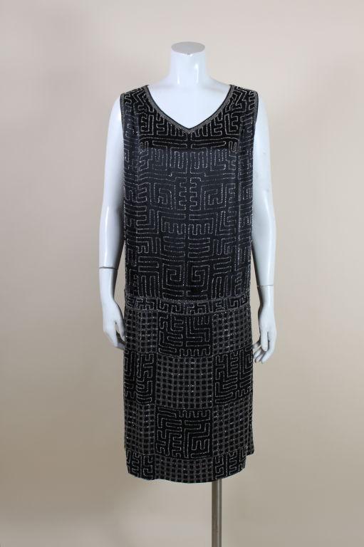 1920s Black Silk Chiffon Gown with Geometric Beading 2