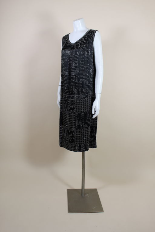 1920s Black Silk Chiffon Gown with Geometric Beading In Excellent Condition For Sale In Los Angeles, CA