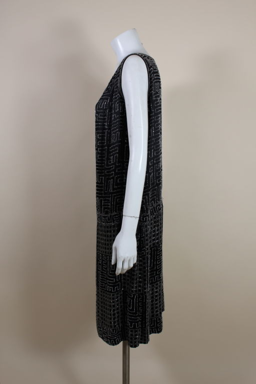 Women's 1920s Black Silk Chiffon Gown with Geometric Beading For Sale