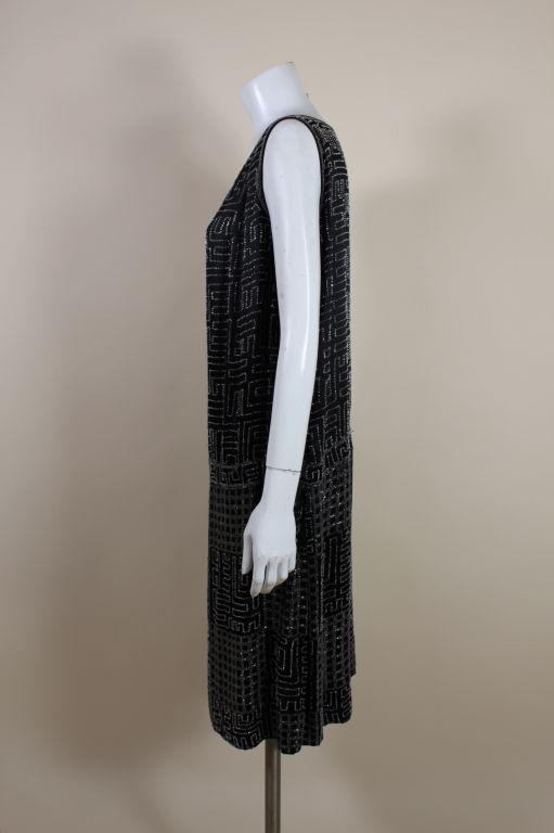 1920s Black Silk Chiffon Gown with Geometric Beading 4