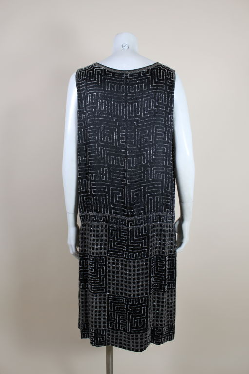 1920s Black Silk Chiffon Gown with Geometric Beading 5