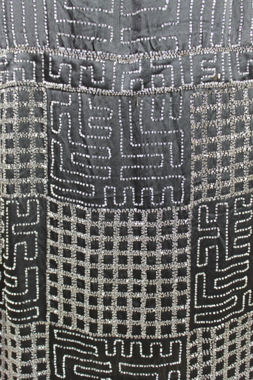1920s Black Silk Chiffon Gown with Geometric Beading For Sale 2