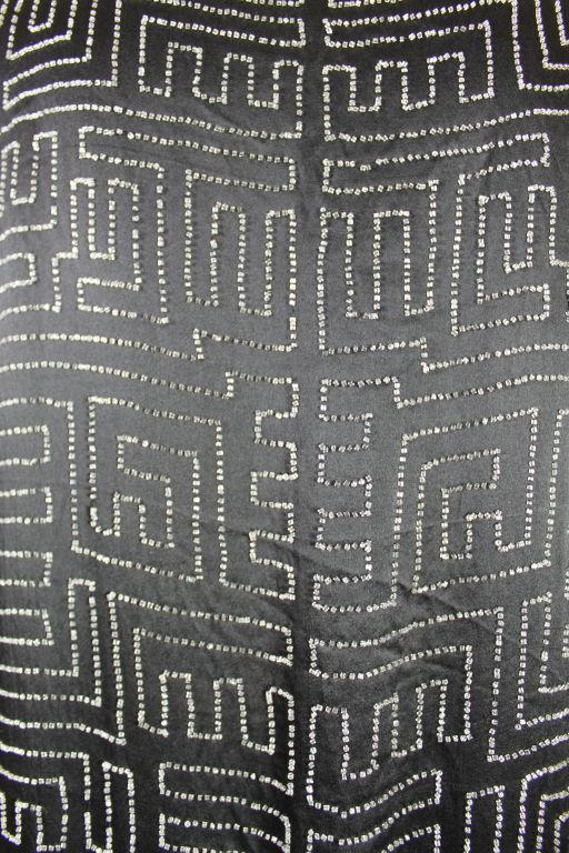 1920s Black Silk Chiffon Gown with Geometric Beading 7