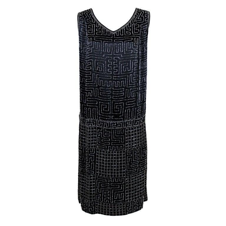 1920s Black Silk Chiffon Gown with Geometric Beading 1