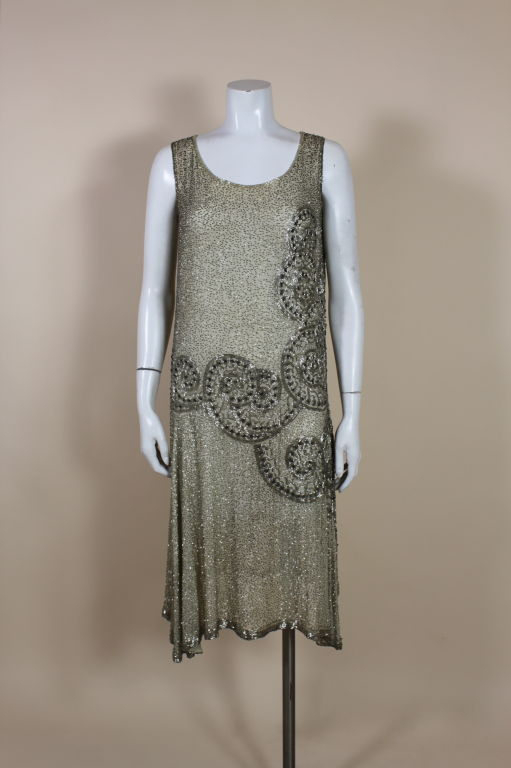 1920's Metallic Beaded Ivory Cotton Flapper Dress image 2