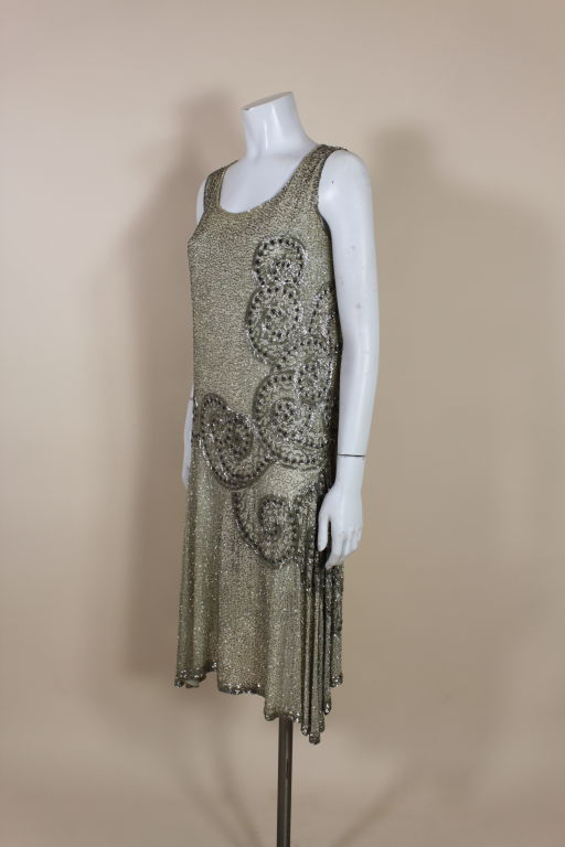 1920's Metallic Beaded Ivory Cotton Flapper Dress image 3