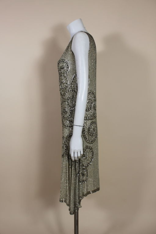 1920's Metallic Beaded Ivory Cotton Flapper Dress image 4