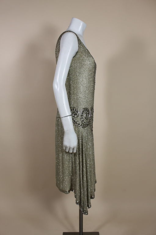 1920's Metallic Beaded Ivory Cotton Flapper Dress image 5