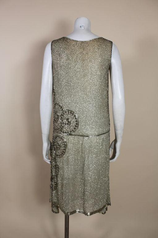 1920's Metallic Beaded Ivory Cotton Flapper Dress image 6