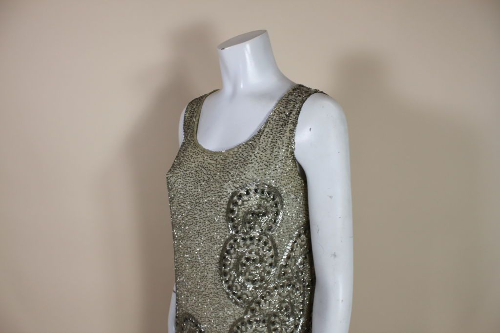 1920's Metallic Beaded Ivory Cotton Flapper Dress image 7