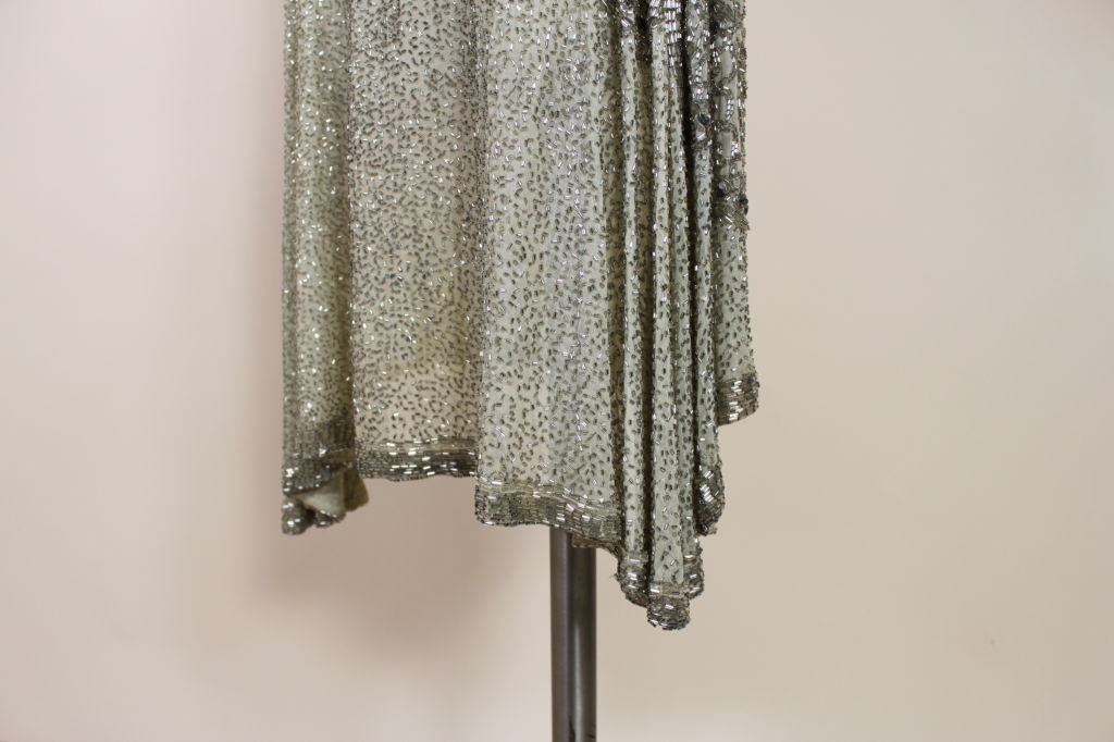 1920's Metallic Beaded Ivory Cotton Flapper Dress image 8