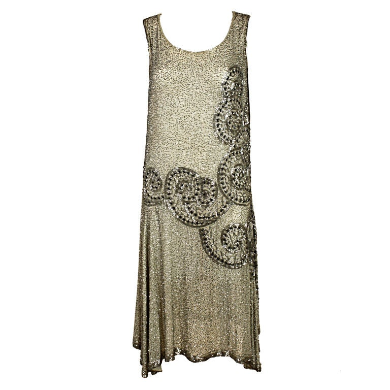 1920 S Metallic Beaded Ivory Cotton Flapper Dress At 1stdibs