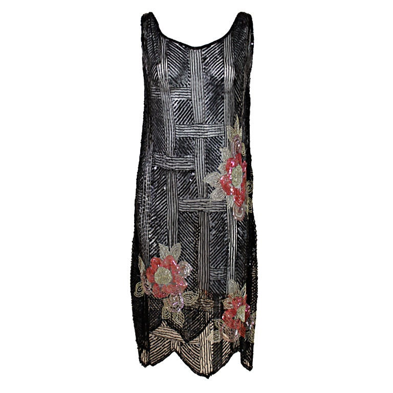 1920's Deco Sequined Floral on Tulle Flapper Dress 1