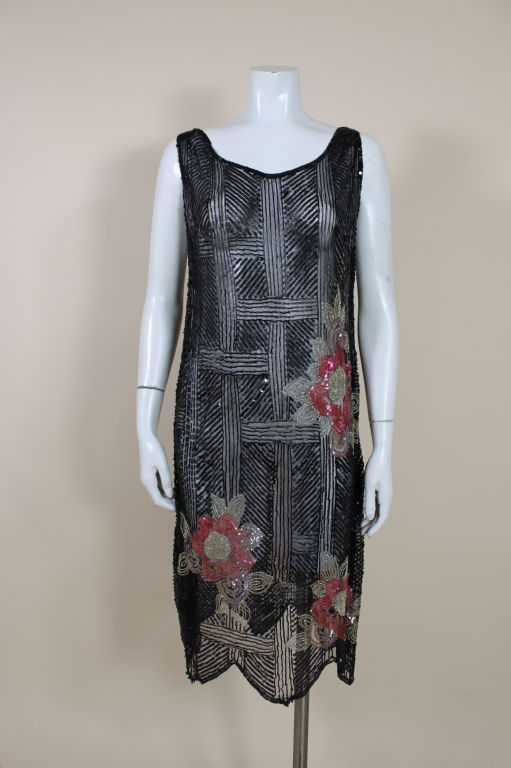 1920's Deco Sequined Floral on Tulle Flapper Dress 2