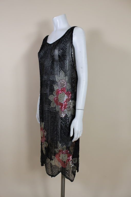 1920's Deco Sequined Floral on Tulle Flapper Dress 3