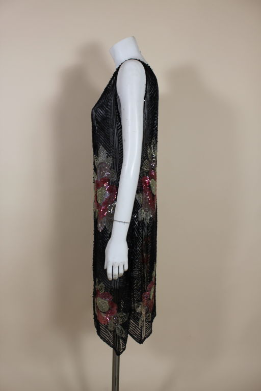 1920's Deco Sequined Floral on Tulle Flapper Dress 4