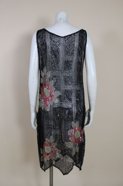 1920's Deco Sequined Floral on Tulle Flapper Dress 6