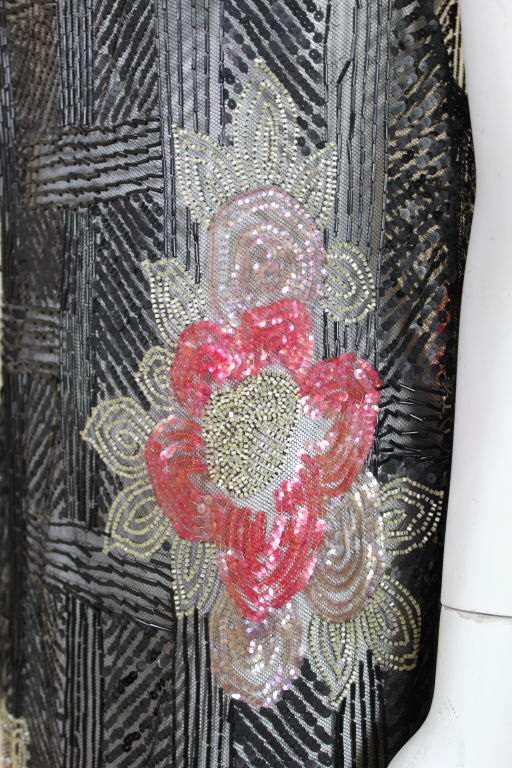 1920's Deco Sequined Floral on Tulle Flapper Dress 7