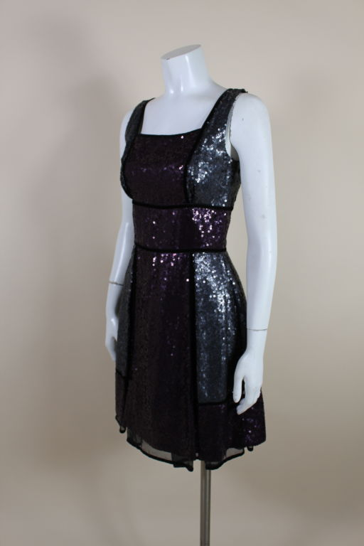 Naeem Khan Color-Block Sequined Party Dress 3