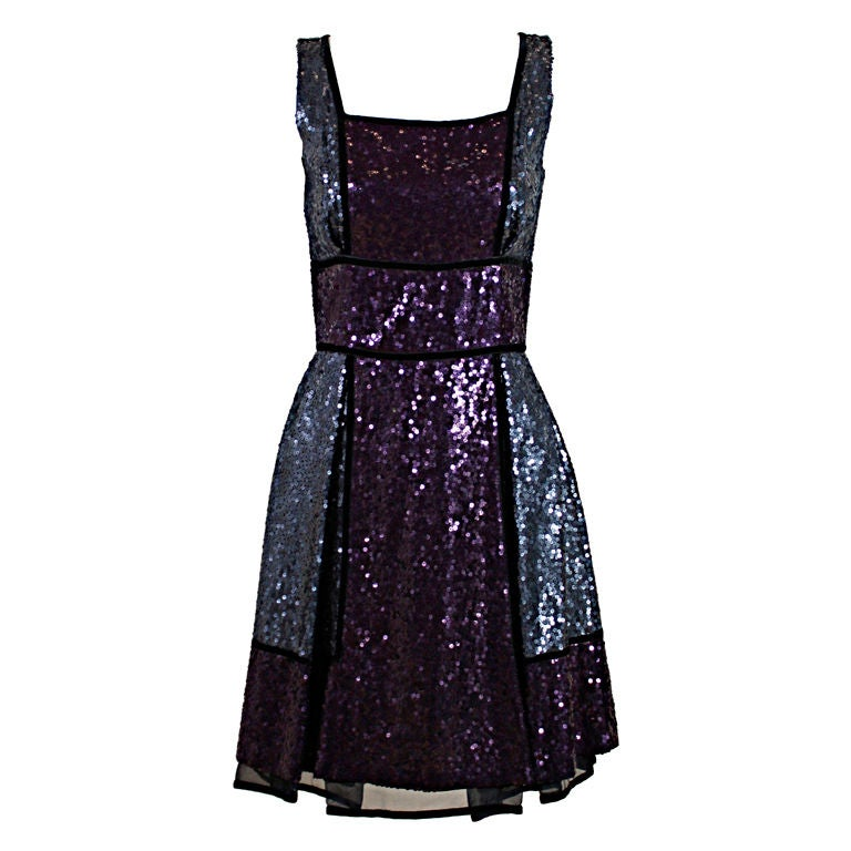 Naeem Khan Color-Block Sequined Party Dress 1