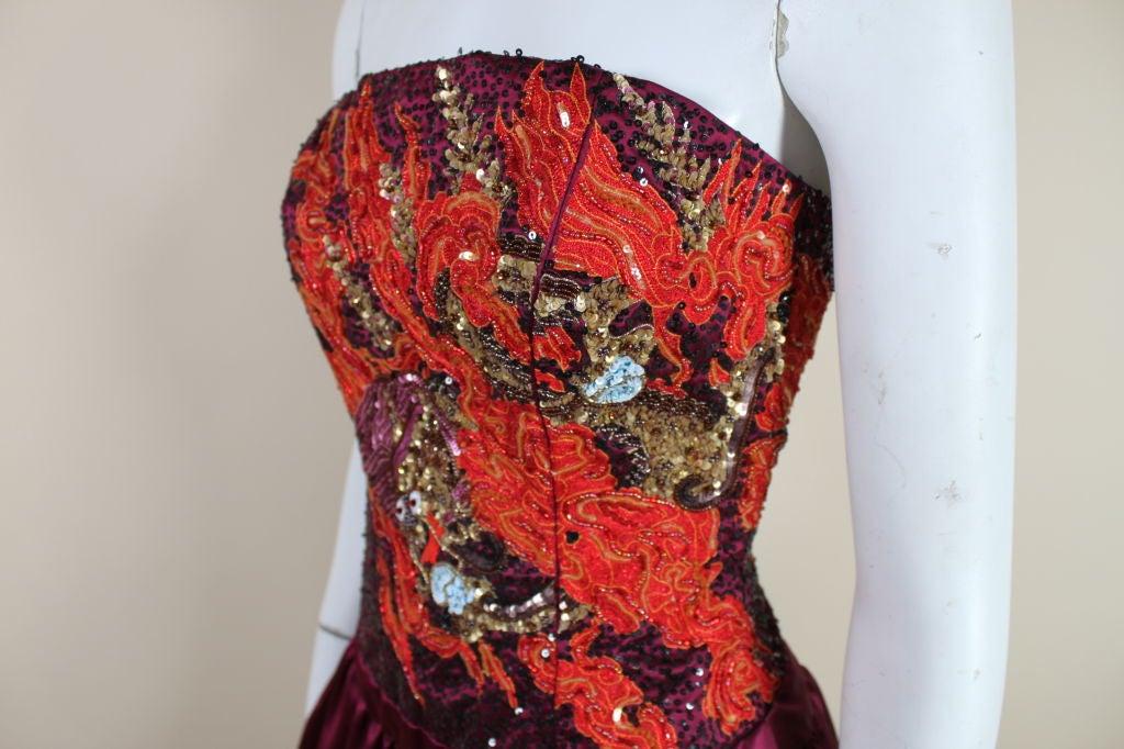 Carolina Herrera Dragon Beaded Satin Cocktail Dress 7