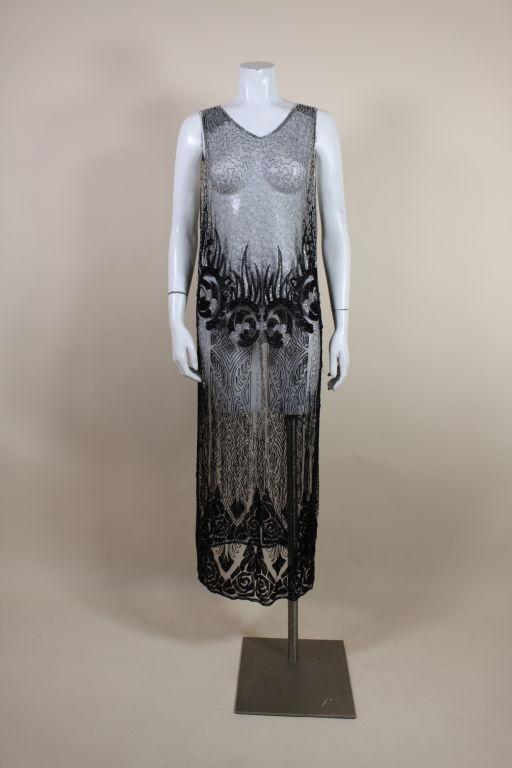 1920's Beaded Silk Net Art Deco Gown 2
