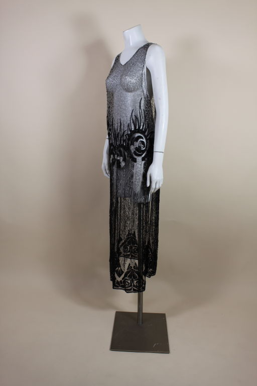 1920's Beaded Silk Net Art Deco Gown 3