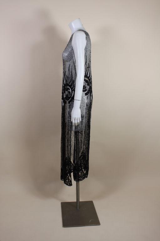 1920's Beaded Silk Net Art Deco Gown 4
