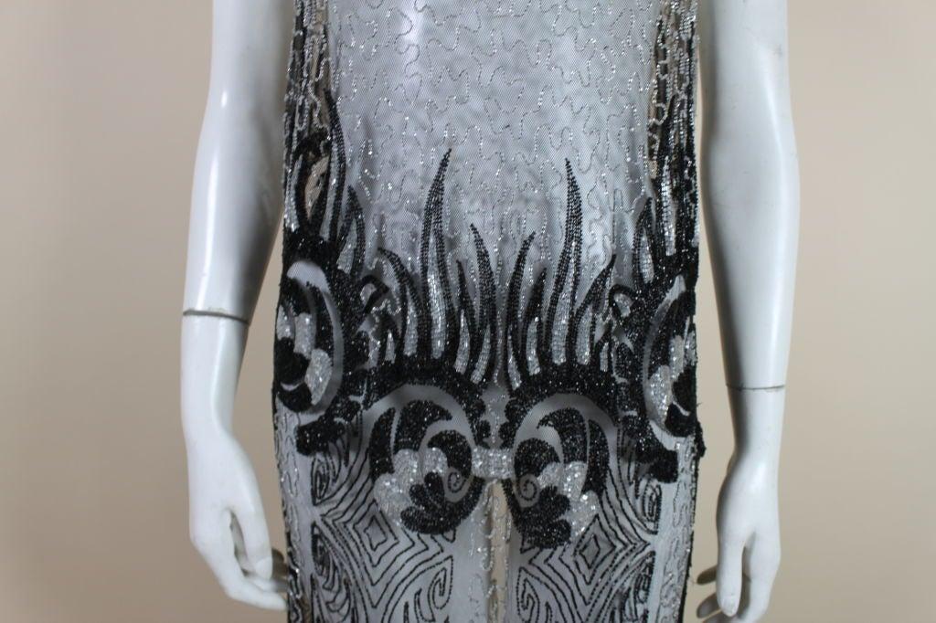 1920's Beaded Silk Net Art Deco Gown 6
