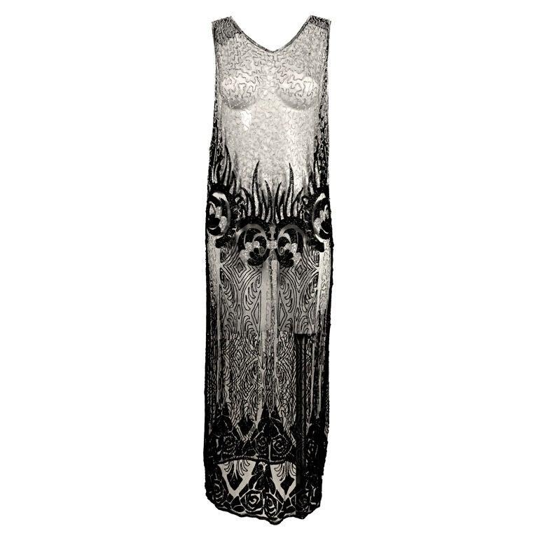 1920's Beaded Silk Net Art Deco Gown 1