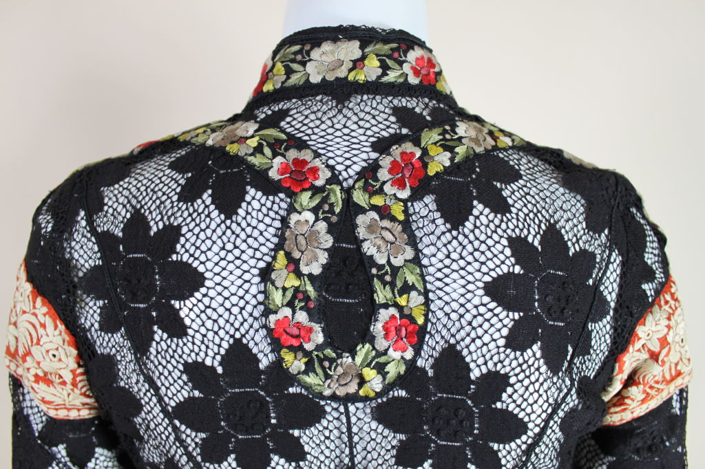 1960's Thea Porter Couture Floral Lace Tunic with Ribbons 9