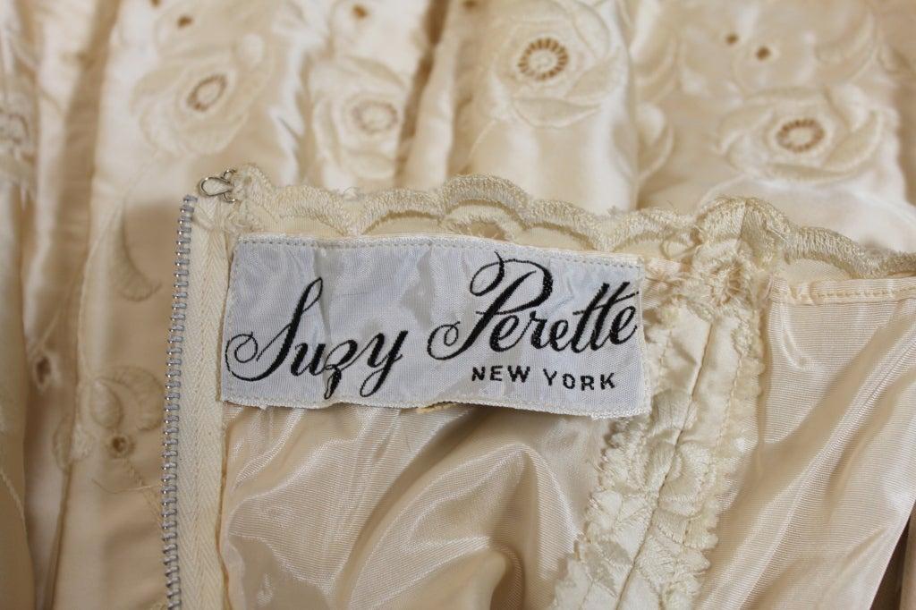 1950's Suzy Perette Cream Eyelet Satin Party Dress 10