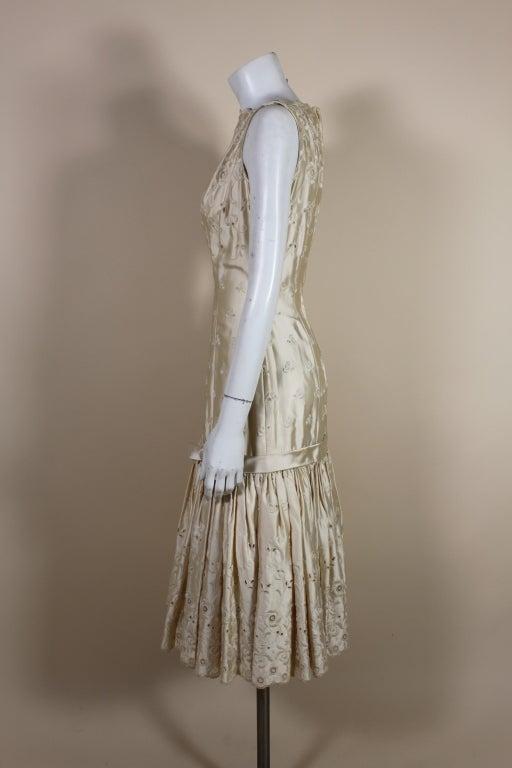 1950's Suzy Perette Cream Eyelet Satin Party Dress 4