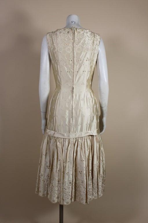 1950's Suzy Perette Cream Eyelet Satin Party Dress 5