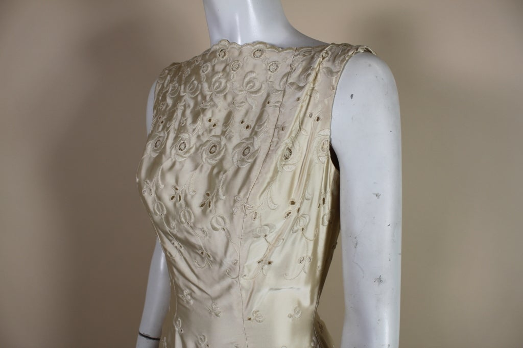 1950's Suzy Perette Cream Eyelet Satin Party Dress 6