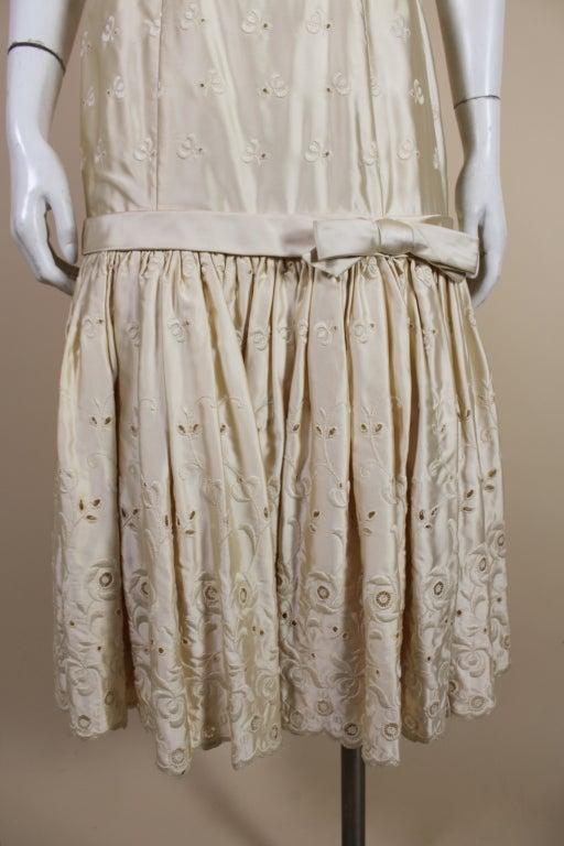 1950's Suzy Perette Cream Eyelet Satin Party Dress 7