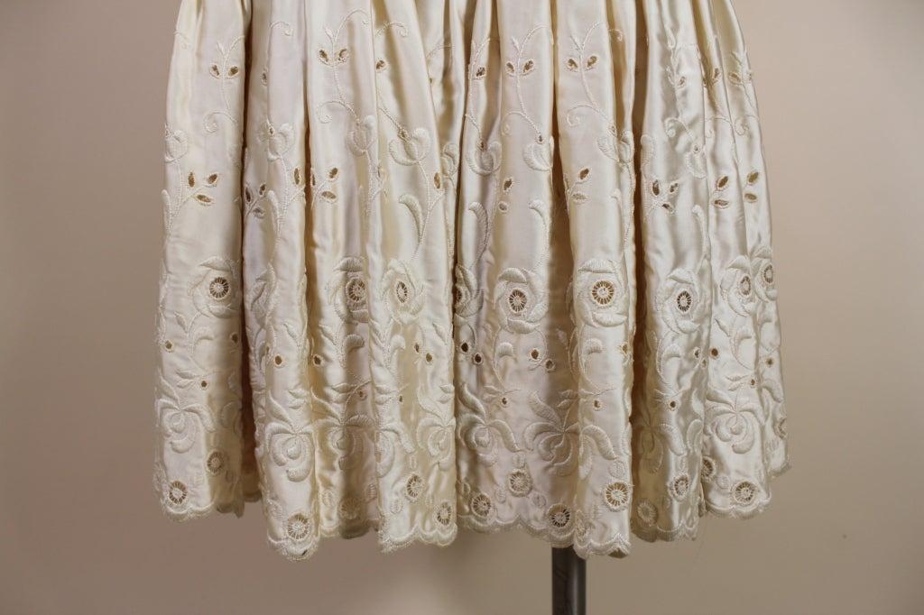1950's Suzy Perette Cream Eyelet Satin Party Dress 9