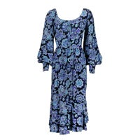 Pucci 1970s Floral Paisley Printed Silk Peasant Dress