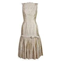 1950's Suzy Perette Cream Eyelet Satin Party Dress