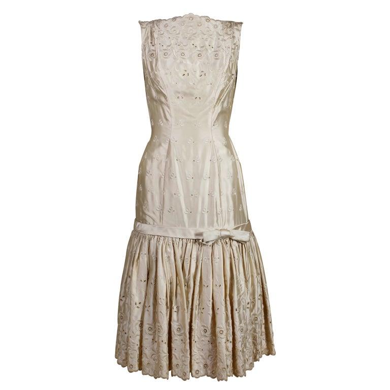 1950's Suzy Perette Cream Eyelet Satin Party Dress 1