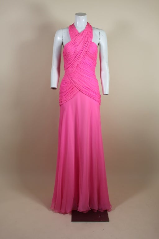 1980's Scaasi Hot Pink Chiffon Halter Gown image 2